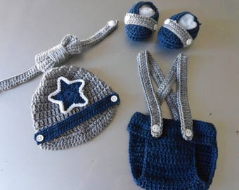 Crochet Baby Infant Boy Dallas Cowboys Inspired Diaper Cover Set Photo Prop Shower Gift MADE TO ORDER