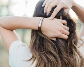 Womens Hidden Message Leather Bracelet - Mens, Womens, Childrens Custom Bracelet