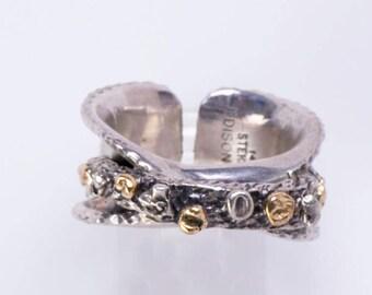 Navajo Sterling 14k Ring -  Modern Signed - sz 8