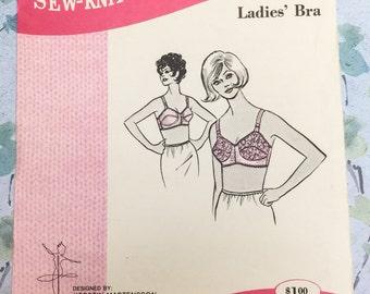 Sew Knit N Stretch 218 Vintage Bullet Bra Sewing Pattern 1960s Lingerie Sizes 34 A-B-C Kerstin Martensson