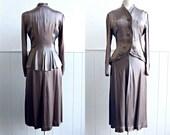 1940s Silver Liquid Silk Satin Evening Dress Suit