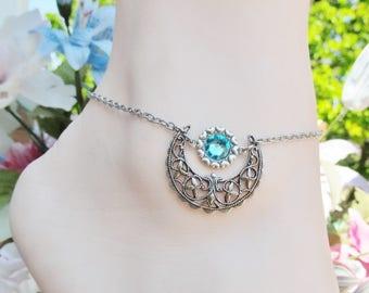 Women's Ankle Bracelet Moon Anklet Silver Anklet Turquoise Swarovski Crystal Summer Anklet