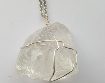 Glass Bobble Wire Wrapped Silver Pendant Pendent Statement Bold Necklace Clear