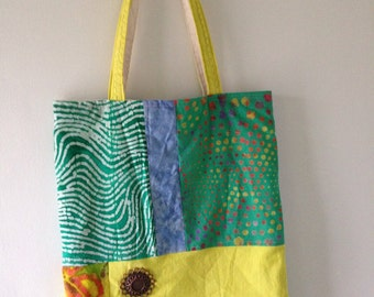Tote bag, sun medallion on batik handbag, hand dyed yellow green orange teal green blue cotton purse, Bohemian wearable art boho Lhasa i707