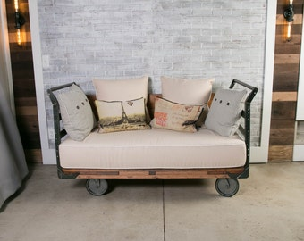 Vintage Industrial Factory Cart Sofa Settee