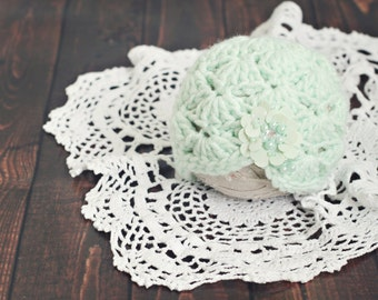 newborn mint hat // winter hat // newborn photo prop // seafoam // baby hat // winter prop // baby photography // ready to ship