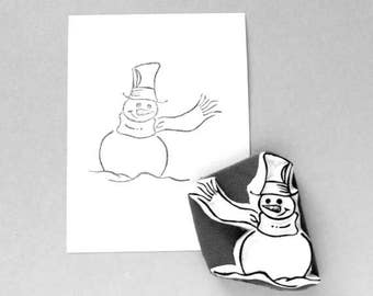 Snowman winter themed stamp