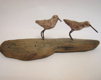 Vintage Sandpipers Bird Driftwood Sculpture Folk-art Seagulls Ocean Crest Beach Signed 1974 Mid Century Folk Art