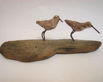 Vintage Bird Driftwood Sculpture, Sandpiper Folk Art, Small Vintage 1974 Mid Century Decor