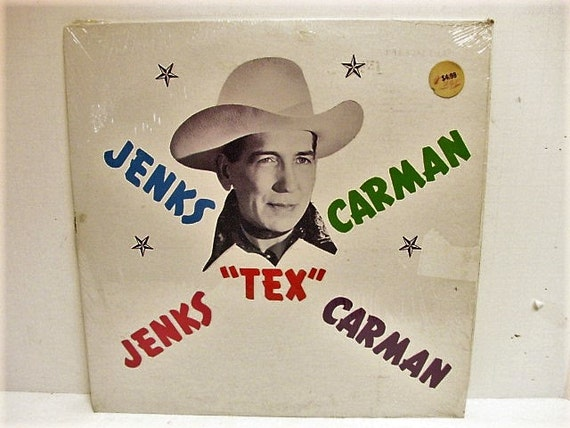 Jenks TEX Carman Country Western LP in Shrink, Vintage Record Private Label, Rare Black Vinyl C-9 Hillbilly Hula