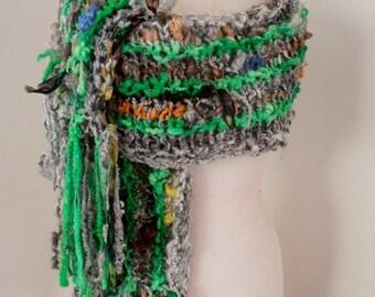 sale Hand Spun, Hand Knit Scarf, grey green, merino wool tencel silk chiffon, English Leicester locks, lightweight wool scarf