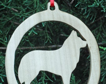 Wooden Siberian Husky Christmas Tree Ornament, Christmas Tree Decoration, Holiday Decoration, Canine Ornament, Family Pet Dog Ornament