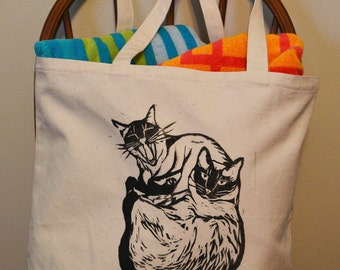 Two Siamese Cats Tote Bag, Cat bag, Cat lover gift, Siamese cat, Canvas Bag, Handprinted bag, Linocut, Cat Lady Gift