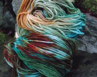 Handpainted sock yarn, fingerling yarn, Superwash Merino yarn 100 grams-Gnome Forest