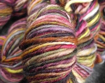 Handspun yarn, handpainted  yarn,  Falkland wool, worsted weight wool yarn-Poison Apple