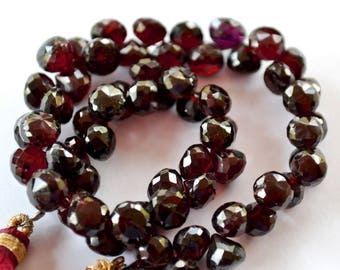 Semi Precious Gemstone Bead.  Faceted Garnet  Onion Briolette Gemstone, 6 to 7mm.  Packet of 4. (2GN2).
