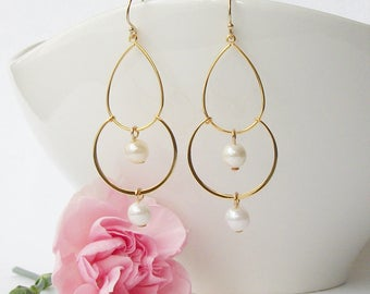 Pearl and Gold Chandelier Earrings