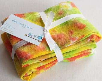Hand Dyed Kitchen Towels - Flour Sack Tea Towel Set of 2 - Tie Dyed Dish Towels Citrus Lemon Yellow Lime Green Orange Bright White