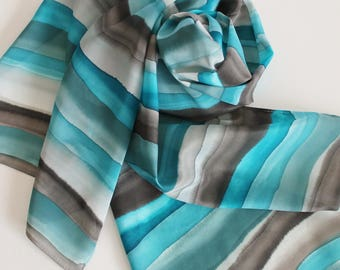 Hand Painted Silk Scarf - Handpainted Scarves Turquoise Teal Aqua Blue Gray Grey Black Stripes