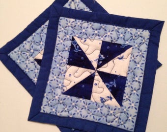 "Two mug rugs, coasters, 5.5"" square, quilted mug rug, quilted coasters, blue and white mug rugs"
