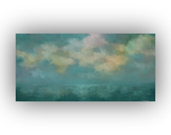 Turquoise Blue and Yellow Abstract Seascape- Ocean Sky and Clouds Oil Painting- Original 15 x 30 Palette Knife Art on Canvas
