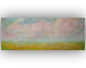 Field Sky and Clouds Oil Painting- Large Yellow Blue and Pink Abstract Landscape- Original 16 x 40 Palette Knife Art on Canvas