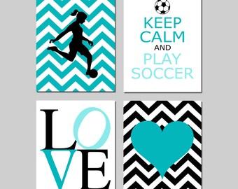 Soccer Art Girl Soccer Decor Girl Bedroom Art Set of 4 - Love, Chevron Heart, Soccer Player, Keep Calm and Play Soccer - CHOOSE YOUR COLORS