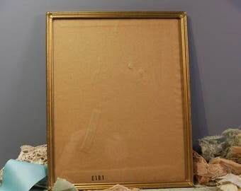 Vintage Gold tone PICTURE FRAME- Glass Front- Large Metal Frame- Retro Home Decor- Brass Picture Frame- C13