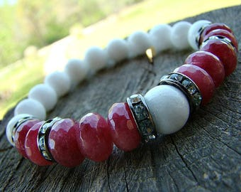 White Bead Bracelet, Ruby Jade Bracelet, Beaded Bracelet, Gemstone Bracelet, Spring, Summer, Jewelry, Womens Bracelet, Stretch Bracelet