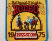 1975 Hesston National Finals Rodeo Sew On Embroidered Patch Steer Wrestling Cowboy Horse NFR