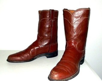 RESERVED Mens Size 11.5 A Cowboy Boots Justin Ropers Brown Distressed Narrow Shoes