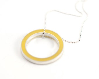 It's Okay Necklace -- yellow resin circle, sterling silver