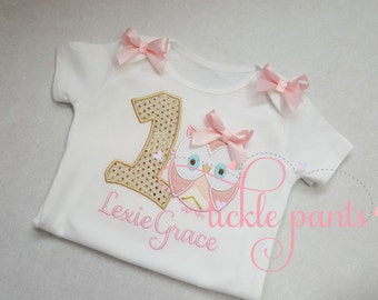 Baby girl's 1st birthday shirt - Owl - Whoo's ONE - Pink and sparkle gold - Can be made for all ages and sizes - Colors can be changed