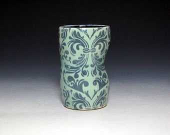 Turquoise and Black Altered Tumbler with Damask Pattern