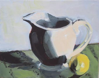 White Pitcher and Lemon - a small impressionistic sketch of white tea pot and lemon - impressionism - original painting - alla prima -