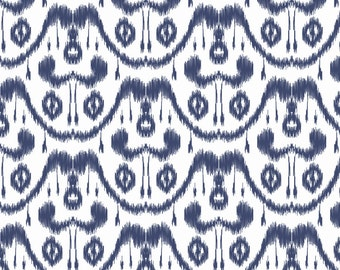 Blue White Ikat Print Fabric - Ikat Waves Indigo By Mjmstudio - Ikat Print Cotton Fabric By The Yard With Spoonflower