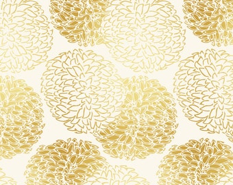 Golden Floral Fabric -Ming Chrysanthemum In Gold Dust By Willowlanetextiles- Floral Upholstery & Cotton Fabric By The Yard With Spoonflower