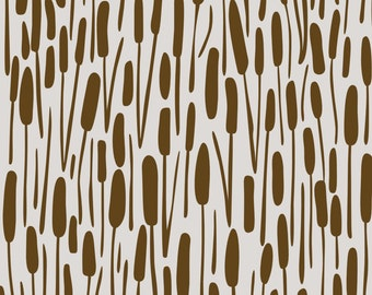 Woodland Cattails Fabric - Cattails On Grey By Chris Jorge - Neutral Woodland Nursery Decor Cotton Fabric By The Yard With Spoonflower