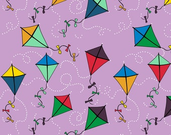 Purple Kite Fabric - Kites Blustery Day In Orchid Dream Kangaroo By Kheckart - Classroom Decor Cotton Fabric By The Yard With Spoonflower