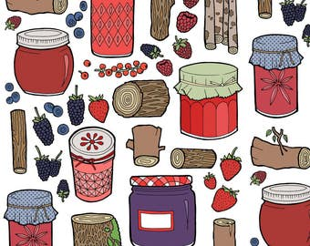 Woodland Berries and Jam Fabric - Logjammin By Bettyturbo - Rustic Logs Retro Jelly Jars Cotton Fabric By The Yard With Spoonflower