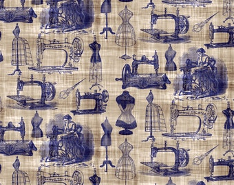 Victorian Sewing Toile Fabric - Vintage Sewing Toile By Bonnie Phantasm - Vintage Cottage Chic Cotton Fabric By The Yard With Spoonflower