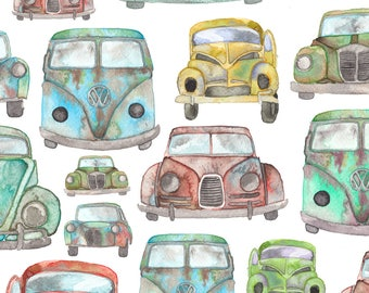 Watercolor Vintage Car Fabric - Vintage Cars By Elena O'Neill Illustration - Road Trip Car Cotton Fabric By The Yard With Spoonflower