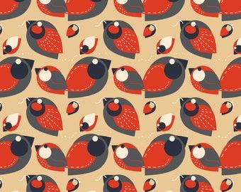 Geometric Birds Fabric - Retro Robin By Eppiepeppercorn - Geometric Retro Robin Nursery Decor Cotton Fabric By The Yard With Spoonflower