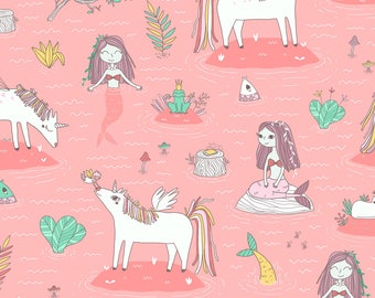 Princess Magic Fabric - Unicorns And Mermaids On The Pond By Kostolom3000 - Cats Pink Baby Girl Cotton Fabric By The Yard With Spoonflower