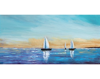 Sailboat painting original acrylic Abstract painting seascape landscape Ocean Lake Coastal nautical  blue lavender 18x36