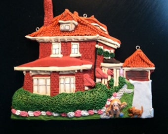 Custom Home Ornament - With Pets- Hand Sculpted - Architectural and Landscape Detail