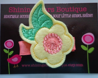Hair Accessories - Felt Hair Clip - Light Yellow, Coral, And Green Embroidered Felt Spring Flower Hair Clippie