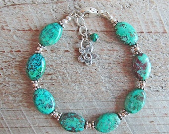 Chrysocolla Healing Natural Gemstone Bracelet, Sterling Silver Flower Charm
