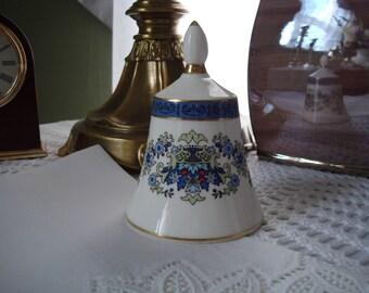 Pretty Royal Doulton England Bone China Bell, Blue and White Bell, Red, White, Blue, Fine China Bell, The Danbury Mint