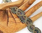 Colorful Khaki Macrame Bracelet -  Beaded Micro Macrame Bracelet - Waves - Khaki and Purple Bracelet with Green